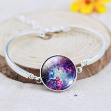 2017 Unique Fine Jewelry Glass Galaxy Cabochon Charm Bracelets&Bangles For Women silver plated jewelry Women Bracelet(China (Mainland))
