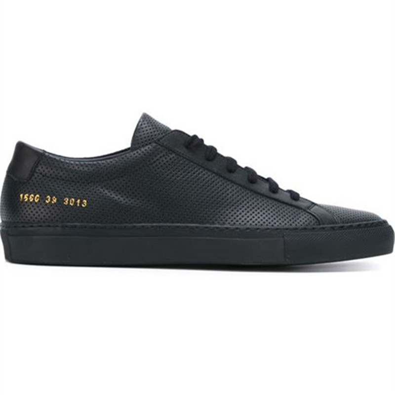 Фотография Italy Original Common Projects Women Men Shoes Spring Autumn Bass Black Genuine Leather Sheepskin Casual Shoes Scarpe Uomo 2016