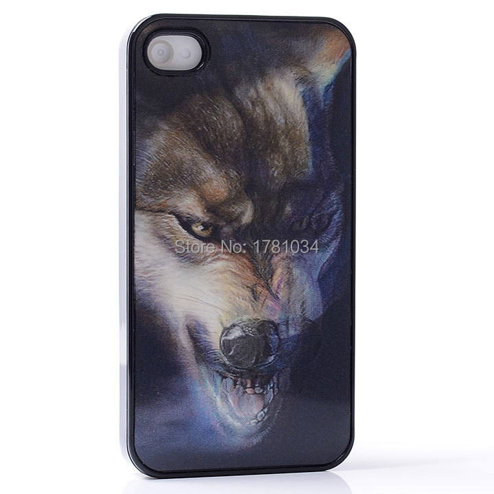 AMAZE 3D MOVIE EFFECT Mouth bellow Brutal Cruel wolf Scar head PC Hard Back Shell Cover protective Case For iphone 4 4S 4G(China (Mainland))
