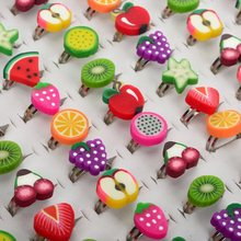 Wholesale Jewelry Lots 10Pcs Mixed Style Adjustable Fruit Shape Polymer Clay Children Rings Gift