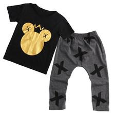 2 قطع أزياء طفل الاطفال الفتيان الفتيات ميكي طباعة قصيرة الأكمام قمم T-قميص + السراويل الاطفال وتتسابق مجموعة الملابس(China)