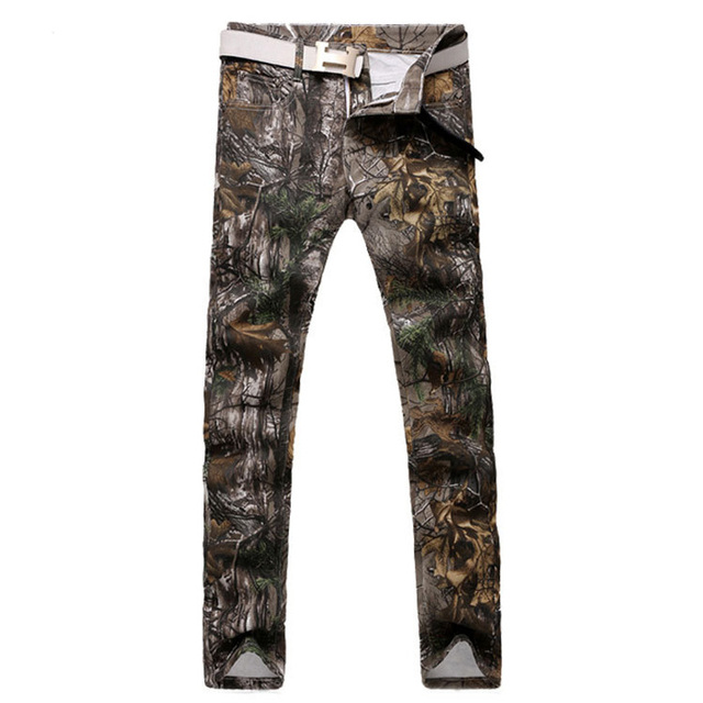 Мужская мода лист печать джинсы свободного покроя тонкий джинсовые брюки длинные ...