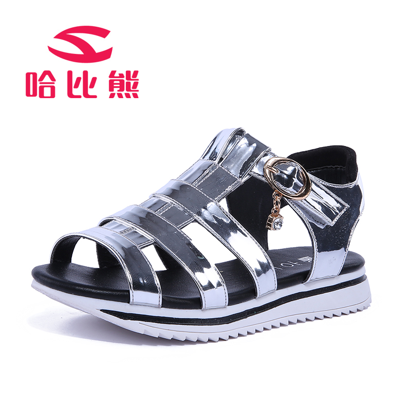 Children Shoes 2016 Fashion Summer Girls Cool Sandals Glossy Female Child Gladiator Open Toe Flat With Leather Shoes<br><br>Aliexpress
