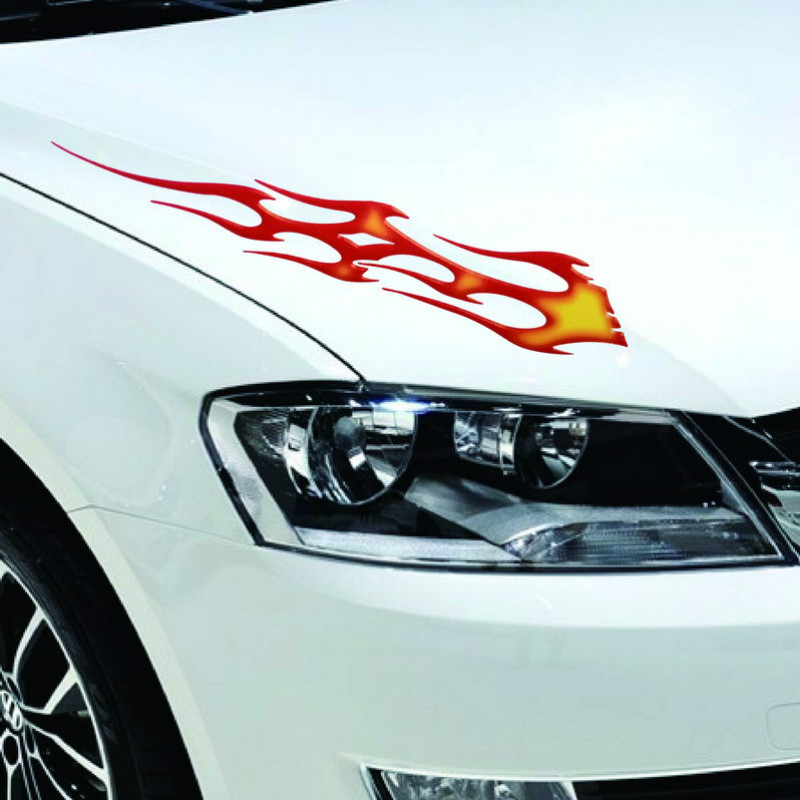 Reflective Tape Large Flame Posts Hood Sticker Car Stickers Car Accessories Golf 7 Car Styling and Decals Motorcycle Stickers(China (Mainland))