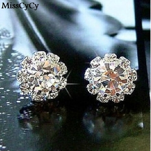 MissCyCy 2016 Brand New FASHION Spherical Crystal Flower Stud Earrings For Women earings fashion jewelry(China (Mainland))