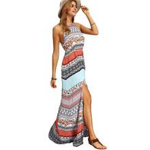 SheIn Ladies Sleeveless Dresses Woman 2016 Summer New Beach Casual Multicolor Vintage Print A Line Split Maxi Dress(China (Mainland))