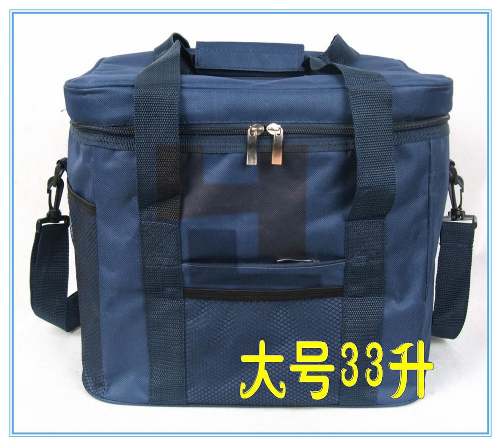 Free shipping Top Grade Waterproof Portable Fabric Thermal Cooler Bag Black Car Trunk Freezer Men Outdoor Picnic Storage Bag 33L(China (Mainland))