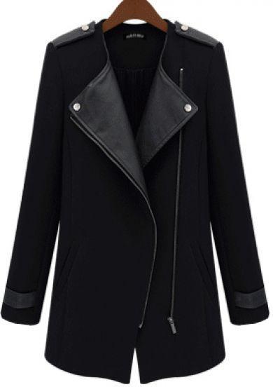 2014 New Winter/Fall Fashion Women Casual Black Contrast PU Leather Trims Oblique Zipper Coat, wc-004 - Shenzhen 131995shop Co.,Ltd -shop2 store