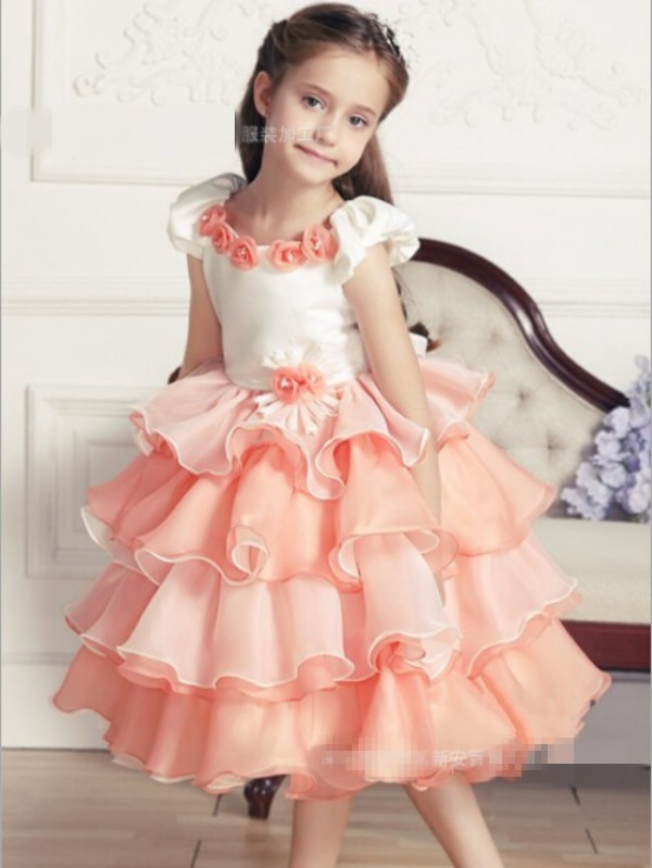 children tiered princess dress baby girls patchwork gauze dresses flower girl party dress kids fashion clothing SMTJ-008