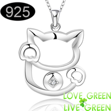 Fine jewelry Wholesale Real Pure 925 sterling silver jewelry Cute fortune cat crystal necklaces & pendants For women 591