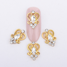 10pcs  alloy gold nail decoration charms glitters rhinestones gems back curved 3d nail art New accessories Y995(China (Mainland))