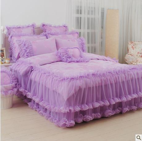 4pcs/6pcs Korean purple bed set romantic bedding set new arrival princess comforter bedding sets lace edge bedspread(China (Mainland))