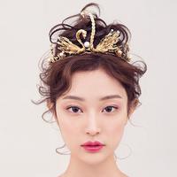 2016 New Classic gold swan rhinestone pearl Bridal tiaras wedding crown crystal diadem for bride hair jewelry veil accessories