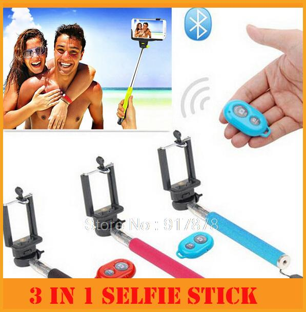 2015 3 in 1 Bluetooth Selfie Stick Extendable Handheld Camera Tripod Mobile Phone Monopod for Iphone Smartphone(China (Mainland))