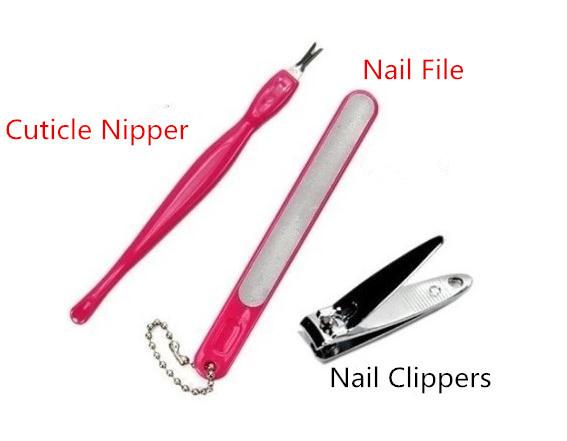 2015 Nail Tools Sets & Kits (3pcs/set) Cuticle Pushers Nail File Nail Clippers Free shipping Stainless steel, plastic tools(China (Mainland))