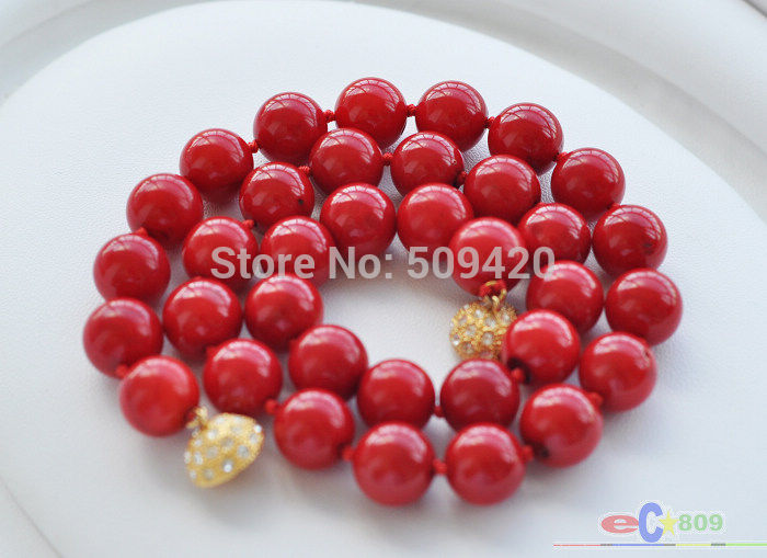 Wholesale&gt;&gt;&gt;S1433 AAA 18 12mm red round coral bead NECKLACE<br><br>Aliexpress