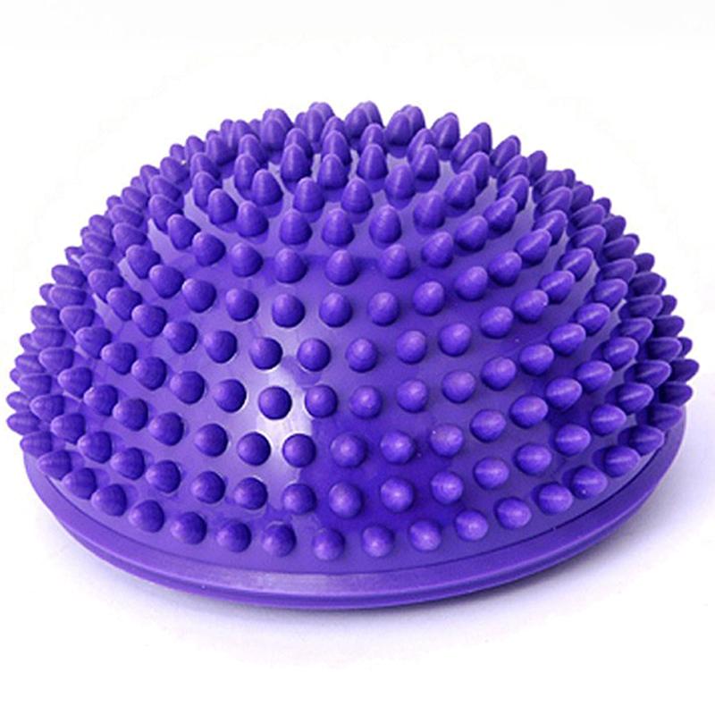 Purple PVC Inflatable Yoga Ball Massage Point Half Fitball Balance Trainer Stabilizer GYM Pilates Fitness Balancing Bosu Ball(China (Mainland))