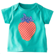 New 2016 Fashion 100% Cotton Baby girls O-neck T-Shirts Clothing Child Toddler Short Tees t Shirt Kids Patchwork Strawberry Tops