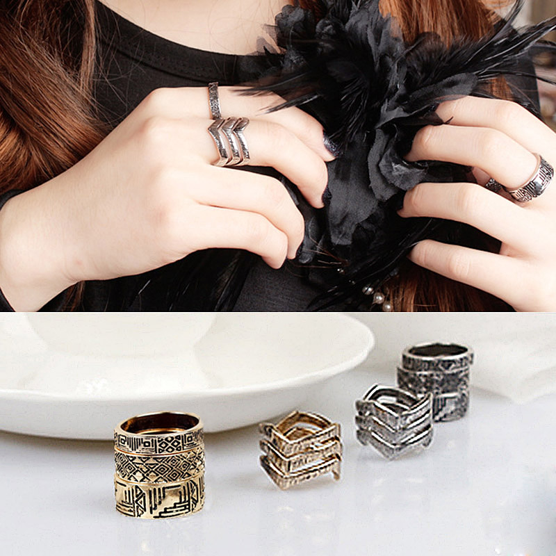 6Pcs/Set Vintage V Note Symbol Punk Wide Rings Sets Women Beach Jewelry Unique Carving Silver/Gold(China (Mainland))