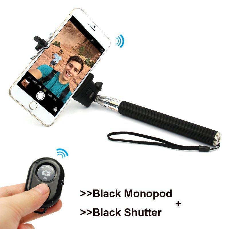 2015 new Extendable Selfie Stick Bluetooth 6 Color Monopod clip Holder bluetooth Camera Shutter Remote Controller