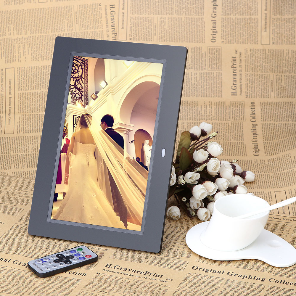 ES STOCK Andoer 10'' HD TFT-LCD 1024*600 Digital Photo Frame Alarm Clock MP3 MP4 Movie Player Digital Frame with Remote Desktop(China (Mainland))