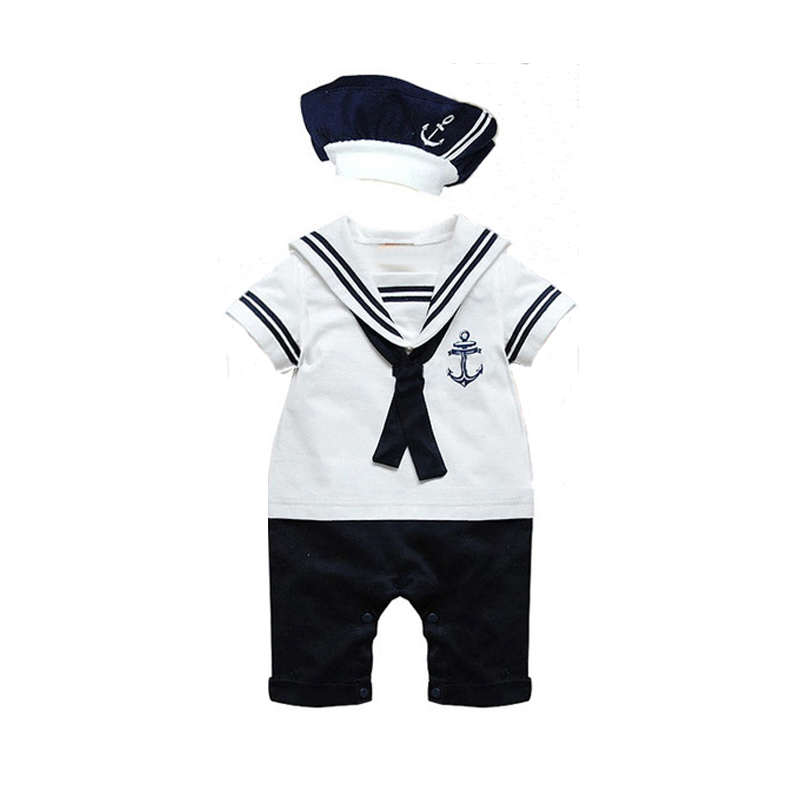 hot sale casual newborn navy style clothing baby boys clothes rompers+hat tie sets summer short-sleeve sailor suits(China (Mainland))