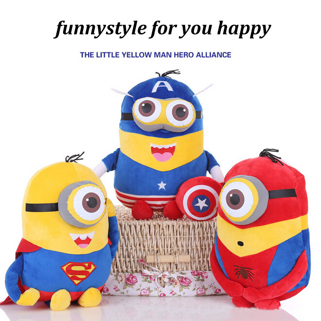 20cm minion toys despicable me Creative Minions 3D eyes doll Superman SpiderMan Batman dolls plush toys baby cute toy C207(China (Mainland))