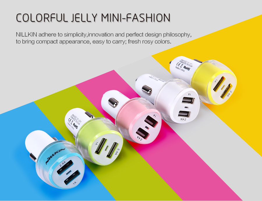 10pcs/lot Wholesale Original Nillkin Jelly Car Charger 2-in-1 Double USB For Smart Mobile Phone And Tablets Car Charger + Retail(China (Mainland))