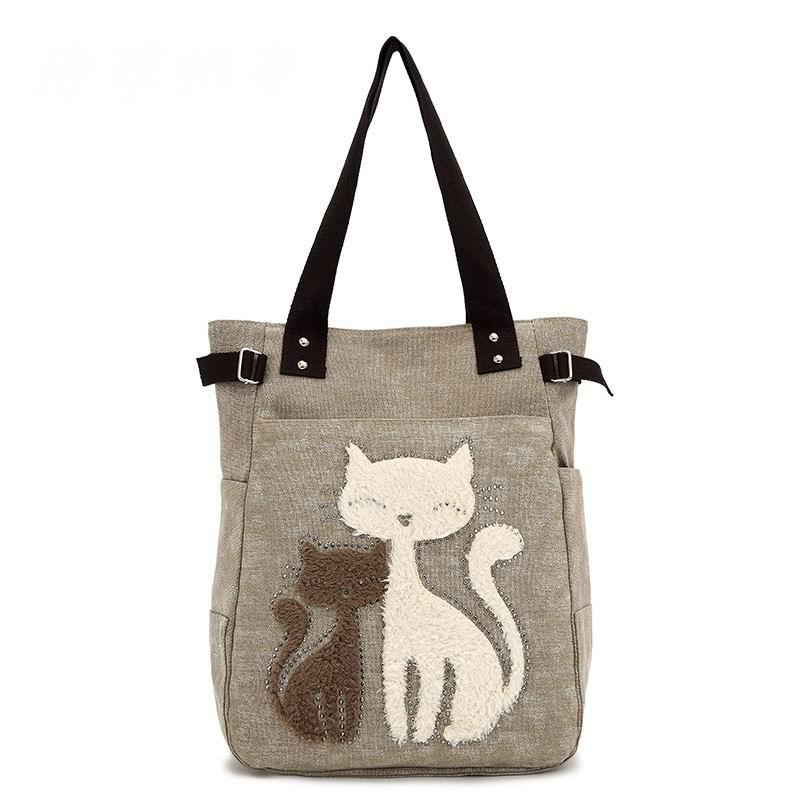 Hot New Korean personalized fashion canvas bag cute cartoon cat dual-use portable shoulder bag womens bag(China (Mainland))