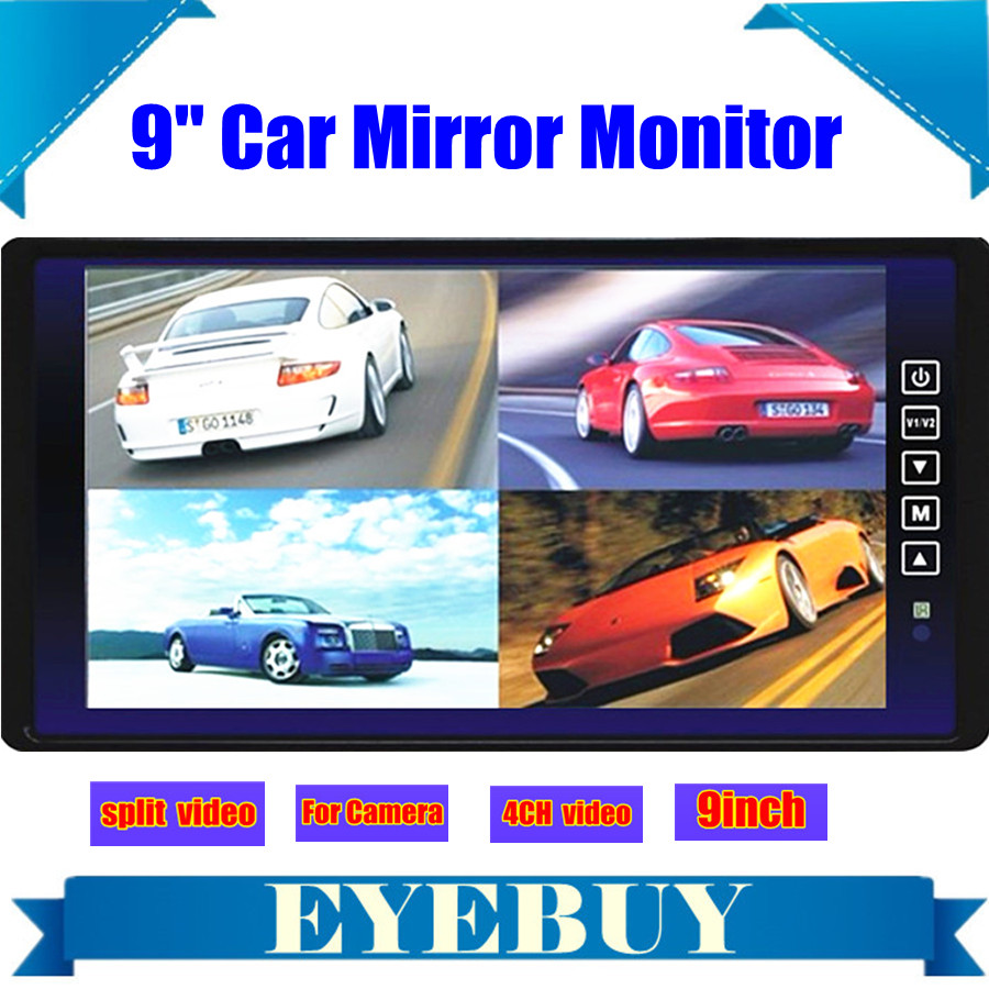 9 Car Auto LCD Rear view mirror video Display parking monitor 4 video split screen for 4ch car reversing backup camera usb sd<br><br>Aliexpress