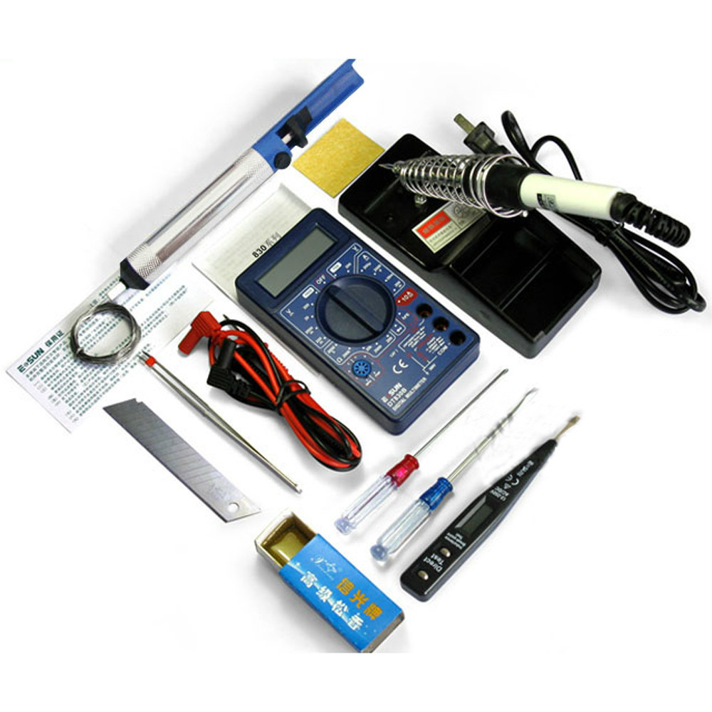 DT830B digital multimeter+220v 30W Solder Iron+electric pencil+other DIY electronic tools kit (12 pcs in 1 package)<br><br>Aliexpress