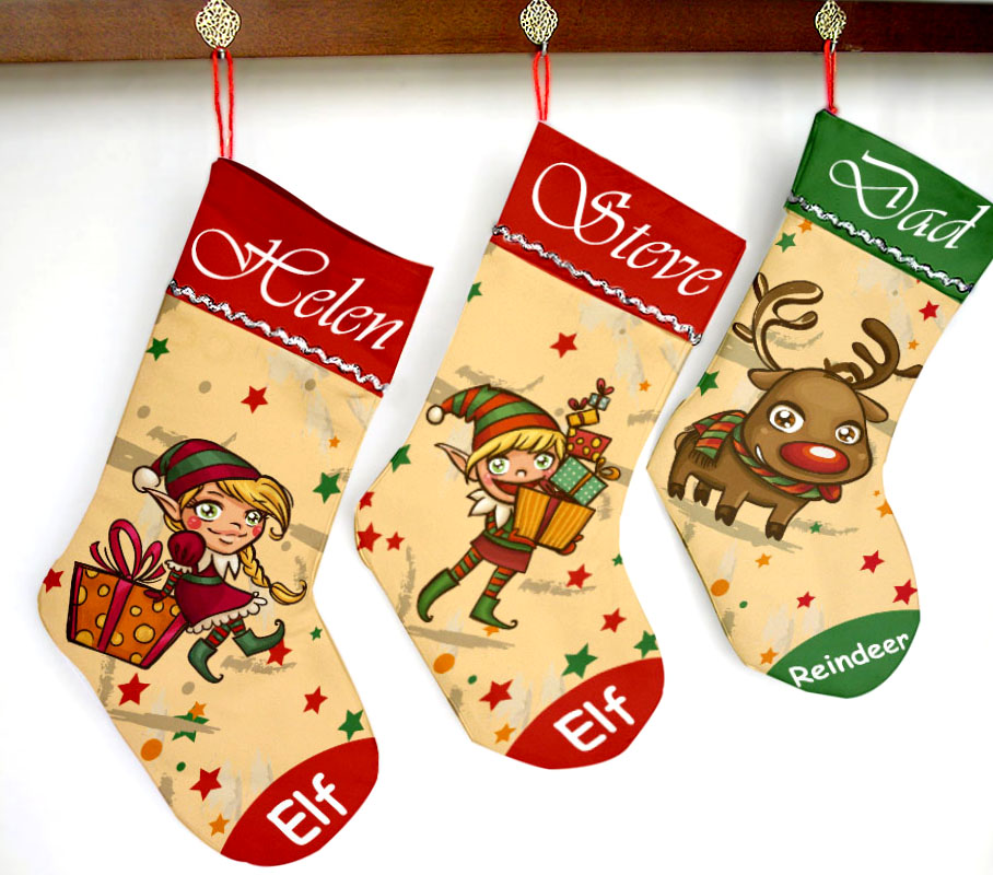 2016 Personalized Christmas Stocking Print Your Name Text