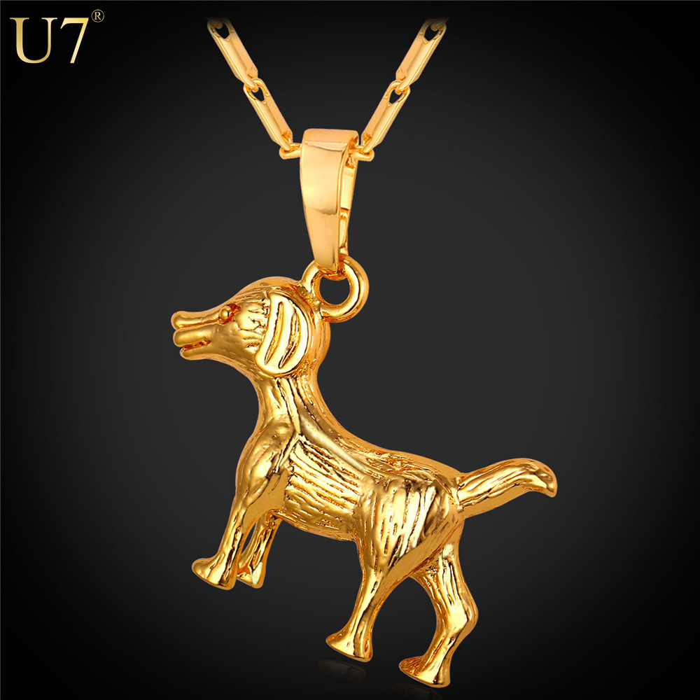 U7 2016 New Fashion Dog Necklace For Men Platinum/18K Real Gold Plated Party Trendy Charm Animal Pendant For Lucky Jewelry P799(China (Mainland))