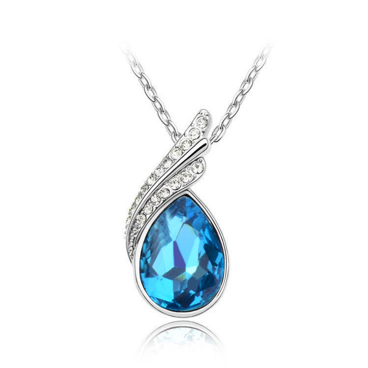 2015 New Design Fashional Waterdrop Shape Metal Austria Crystal Pendant Silver Austria Crystal Necklace(China (Mainland))
