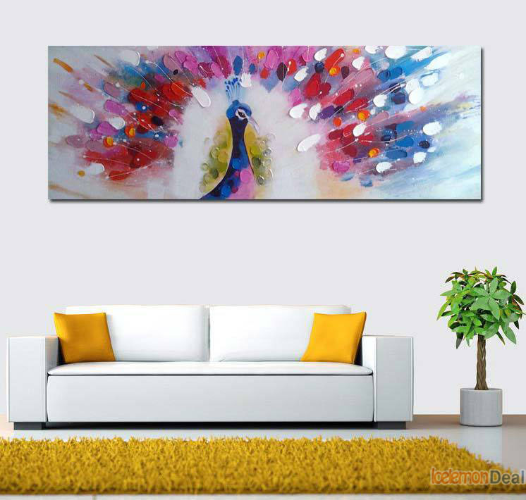 Animal Peacock Oil Painting Animal Wall Pictures Painting By Numbers On Canvas Cartoon Home Decor Hand Painted Oil Paintings(China (Mainland))