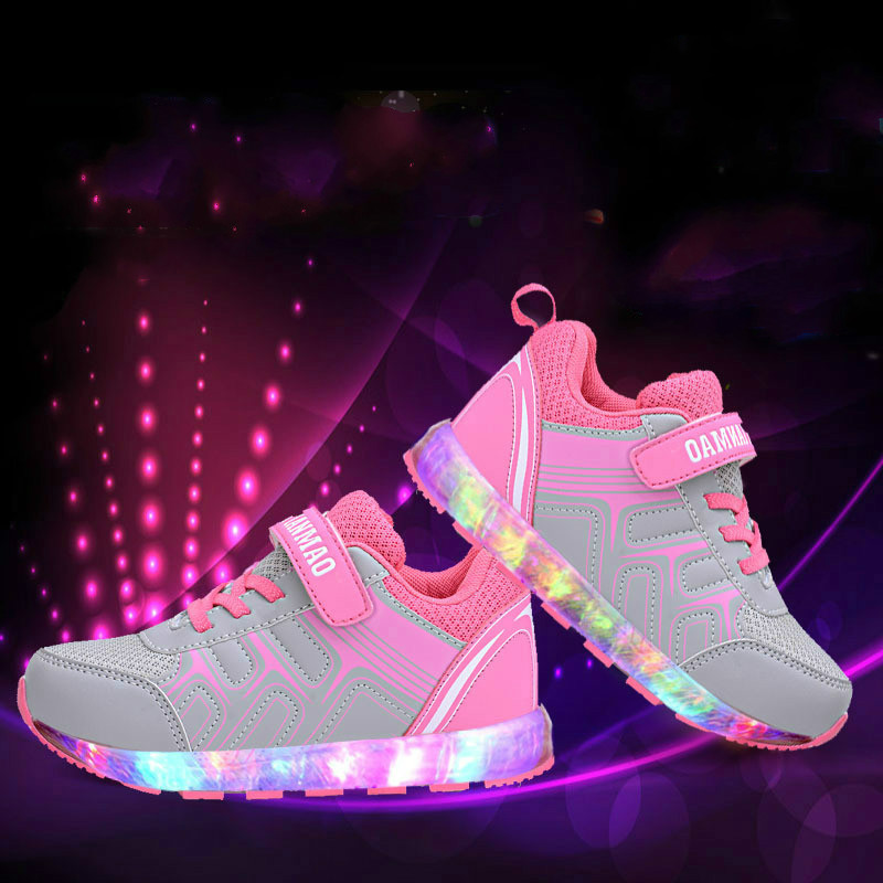 2016 New Kids USB Charger Fashion Sneakers Children Baby Led Light Shoes Boys Girls Efant Casual Luminous Shoes 62030(China (Mainland))