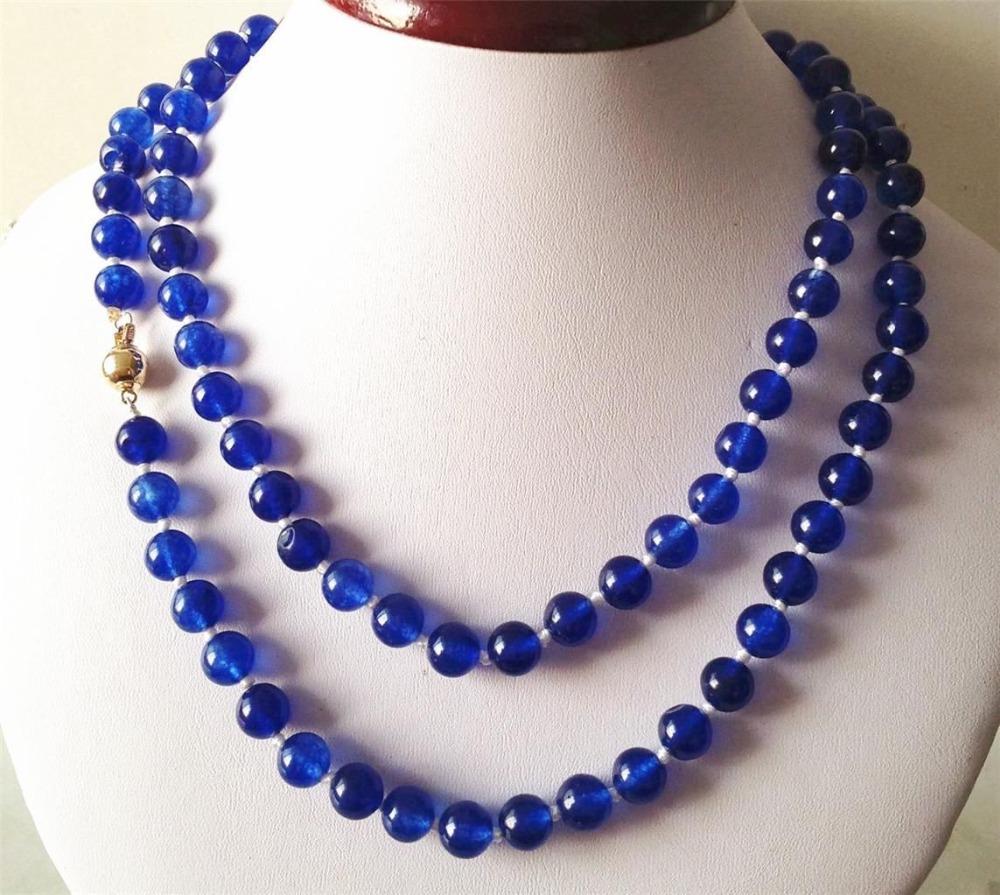 2015 Beautiful Blue Jade 8MM Beads Necklace Rope Chain Beads Fashion Jewelry Making Design Gift For Women (Minimum Order1)(China (Mainland))