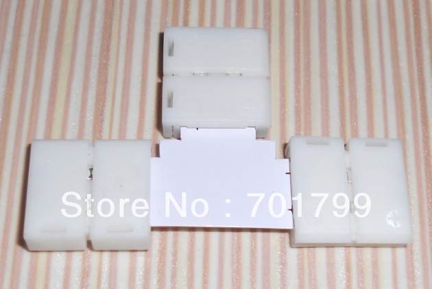 """10mm width 2PIN """"T"""" type solderless connector for 5050 single color led rgb strip"""
