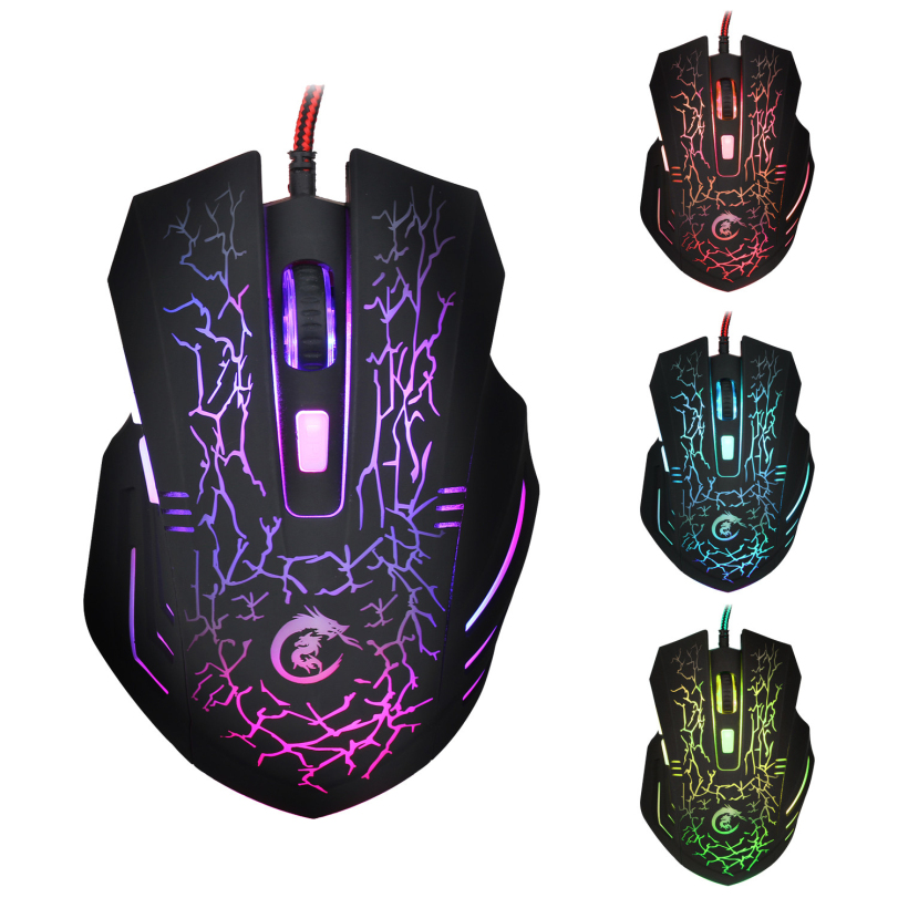 Hot-sale High Quality Game Mouse Professional Gifts 6D Crack LED Optical USB Wired 5500 DPI Pro Gaming Mouse For Laptop PC Game(China (Mainland))