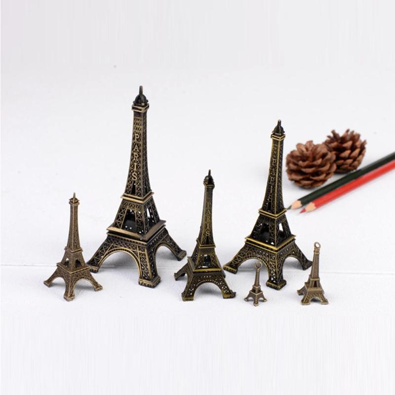 Hot Sale! 6 Sizes Paris Eiffel Tower Figurine Statue Antique Home Decoration Vintage Metal Crafts Model L20