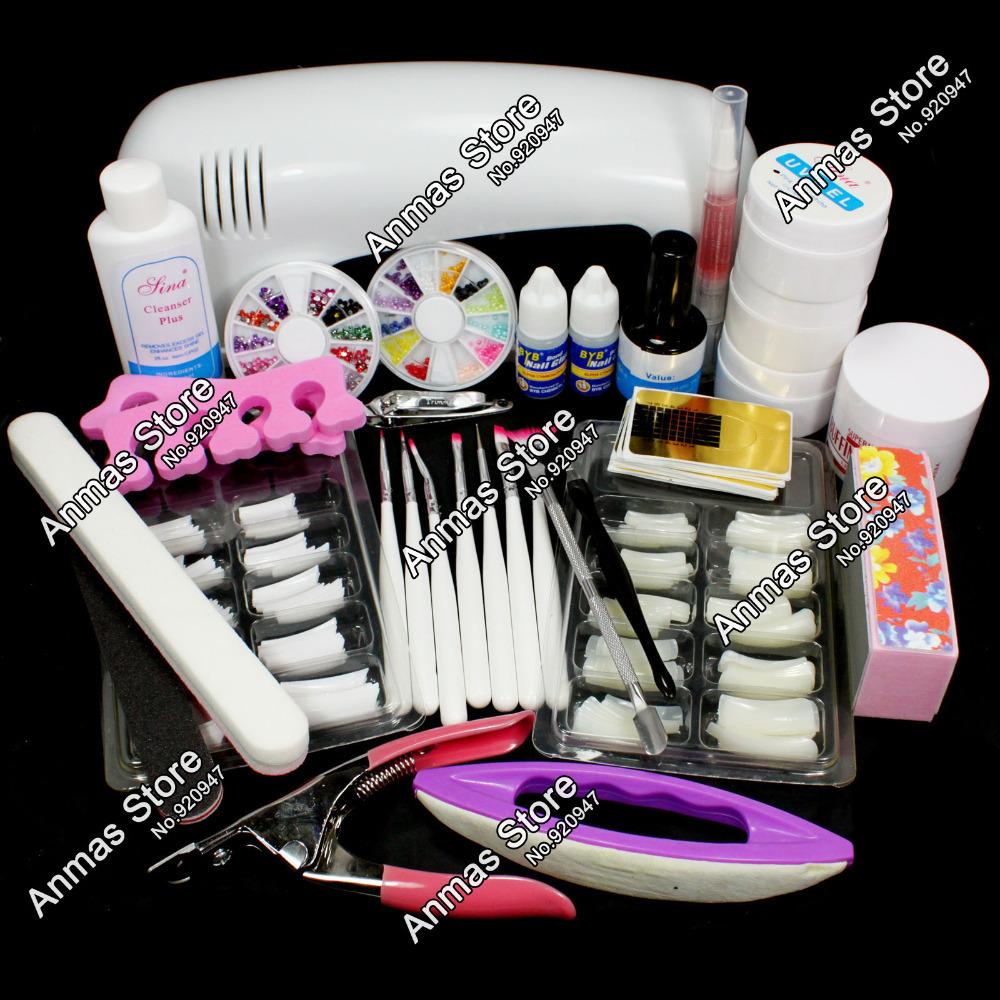 Pro Nail Art UV Gel Kits Tool UV lamp Brush Remover nail tips glue acrylic #12set(China (Mainland))