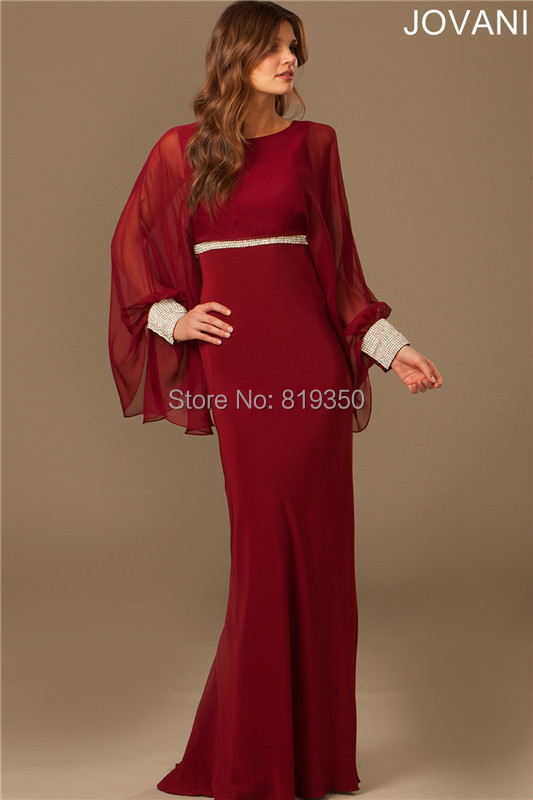 Burgundy Evening Dresses Formal Full Sleeves Robe De ...