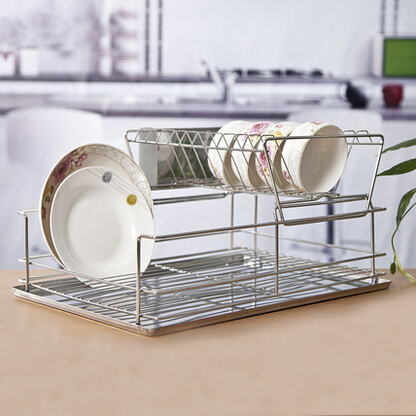 Double Layer 304 Stainless Steel Drain Bowl Rack Dish
