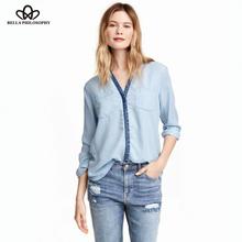 2015 autumn winter new color washed denim long sleeve double Pocket light blue women blouse(China (Mainland))