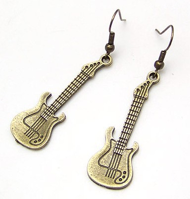wholesale cheap Fashion earrings high quality copper vintage guitar drop earrings free shipping for $15 mini mix order 3pair/lot(China (Mainland))