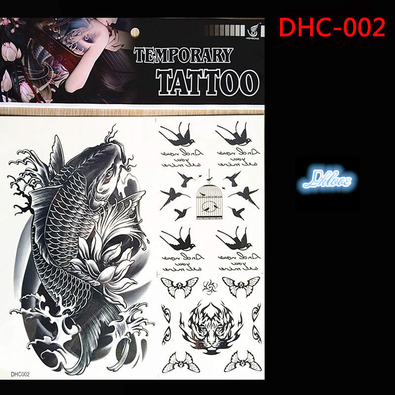 2016, fish of image design of large-scale 3 d temporary tattoo tattoo stickers disposable waterproof tatoo size 24 * 23 cm(China (Mainland))