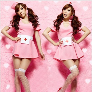Pink nurse / uniform taste / sexy nurse outfit DS Club Show costumes(China (Mainland))
