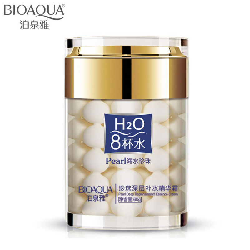 2016 New BIOAQUA Brand Eight Glasses Of Water Pearl Face Cream Moisturizing Skin Care Anti Wrinkle Face Care Whitening Cream 60g(China (Mainland))