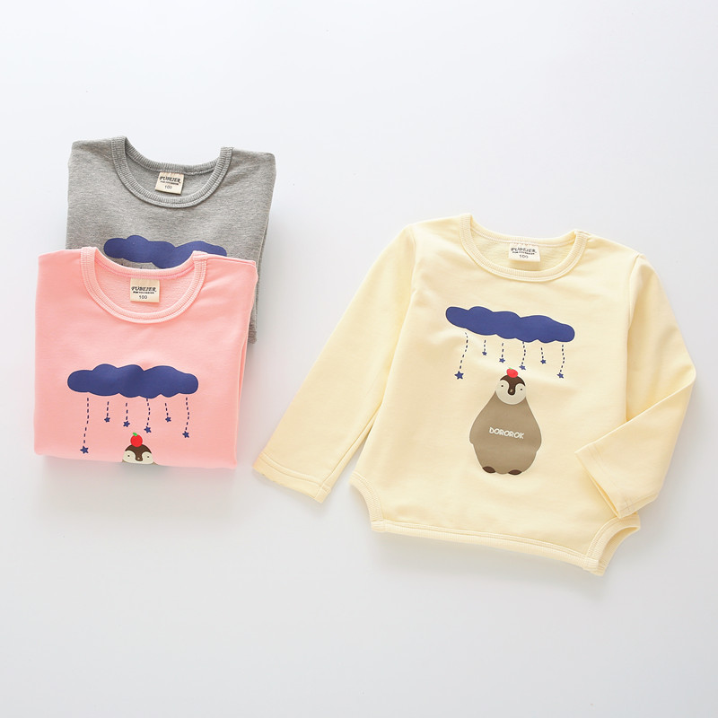 Kids boy girl cotton long sleeve shirt printing Cartoon Penguin new spring 2016<br><br>Aliexpress