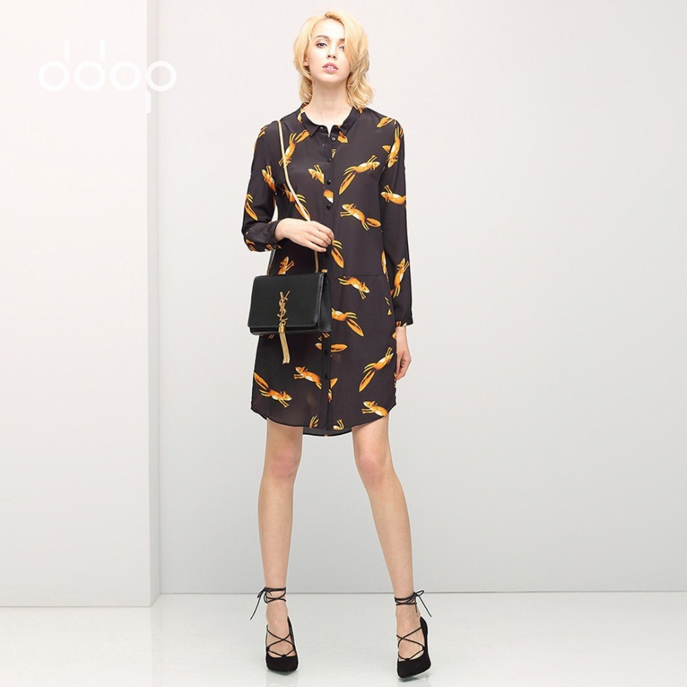 Cute Fox Pattern Shirt Dress 2016 Spring Long Sleeve Ladies Dresses 100% Silk Casual Tunique Femme New Vestidos 2016